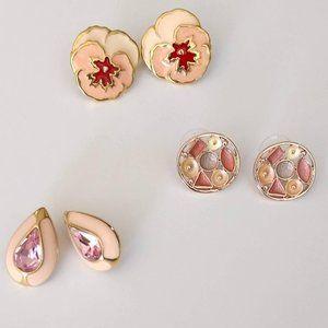 Pink toned enamel earring bundle